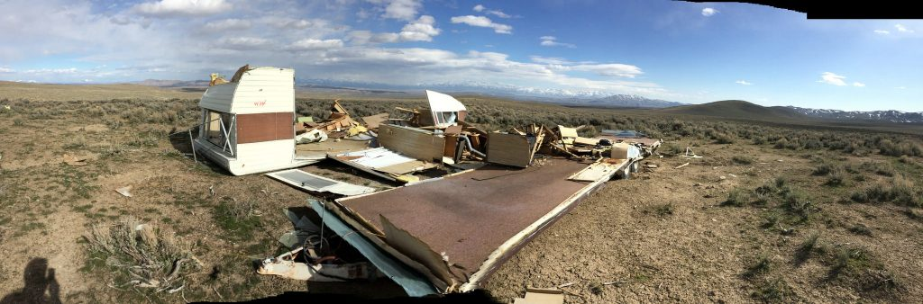 An entire mobile home left for somebody else to pick up..one person's junk on everybody's land.