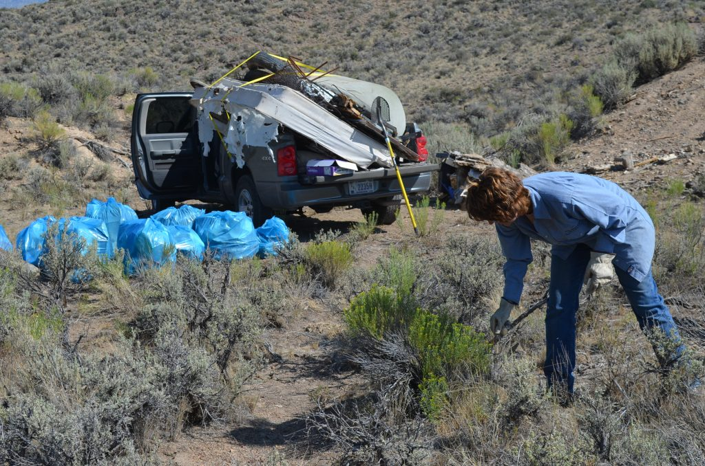 Trash from target shooting and dumping west of Mackay, Idaho.