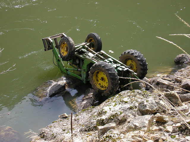 A Tractor in the Salmon River